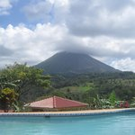 View of volcano from pool