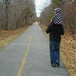 Walking toward Woods Hole