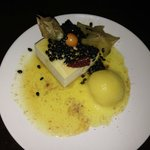 """Dessert :  White chocolate """"Skyr"""" mousse with passion fruit coulis"""