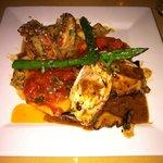 Thursday nights special: chicken stuffed with prosciutto, 2 mushroom raviolis, 2 jumbo shrimp dr