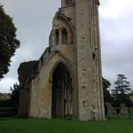 Ruins of the famous tower of Glastonbury Abbey in England