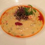 Soup du jour - shrimp chowder with corn and potato
