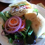 Sandwich with Rock Cod .. opted for salad. Bread and fish was GREAT. More fish then what is seen