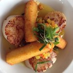 Diver scallops with lobster and crispy polenta. Yummy!