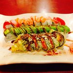 Top to bottom: Rainbow roll, caterpillar roll, and playgirl roll... Rainbow roll was my favorite