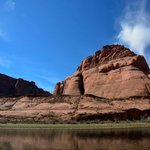 """What Horseshoe Bend looks like from the water. It's got a """"shelf"""" and a camp site. You can hike"""