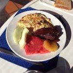 Breakfast omelette, fresh fruit