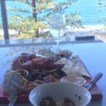 Hand delivered Mediterranean platter to our unit in Bargara at Manta.  Delicious just what we ne