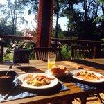 Breakfast with nice farm view