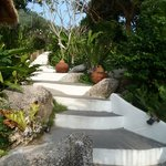 Stairs leading down to the pool