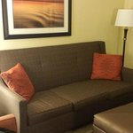 Sofa in lounge area of suite