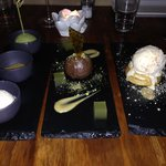 Dessert - ice cream (L), chocolate mousse (C), banana brioche (R)