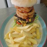 Highland Burger with Cheese, Haggis,Bacon and Onion Rings