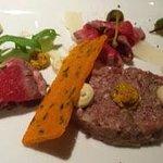 Appetizer steak tartare.