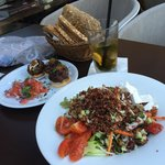 Quinoa salad with starter plate on mini-kebabs