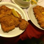 This is the wienerschnitzel split across two plates.  This only cost E6.70