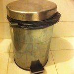 Filthy waste bin in bathroom ugh!