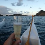champagne on the pirogue