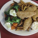 Chicken fingers, fris and mixed vegetables.