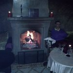 Hubby relaxing by the fire