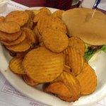 Cheese burger & sweet potato fries