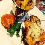 steak and garlic prawns