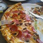 Half my pizza left.