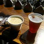 Clam chowder cold beer