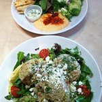Portions are big. Quinoa salad and humus salad were excellent. Definitely recommend.