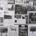 The collage of Mandela outside our foor