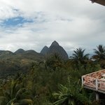 Scenic view of The Iconic Pitons from the Delice Restaurant
