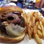 Kobe beef burger with blue cheese & garlic fries