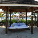 Loved the swinging palapa bed!!