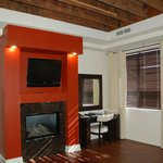 Fireplace and desk