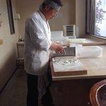 Hideo Kobayashi making soba noodles.