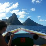 Approaching the Pitons via water taxi.