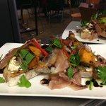 Bruschetta of baked ricotta, roast pumpkin, proscuitto, delicate herbs & balsamic glaze