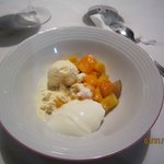 One of the many delicious deserts! Buffalo curd, vanilla icecream and local fresh fruits!!