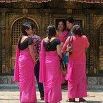 Local ladies outside Changu Naryan Temple