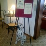 dalmatian greets you in restaurant