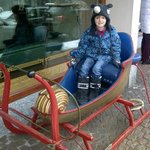 old sleigh in shopping area