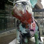 french bulldog sculpture in shopping area