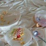 empty fruit plates