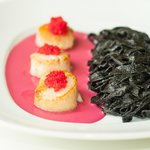 Diver Sea Scallops w/ Squid Ink Linguini and Sauce Cardinal