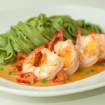 Gufl Shrimp w/ Lemongrass Panang Curry Sauce and Arugula Linguini