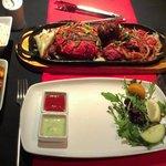 Mega Mixed Grill, Mattar Panneer & Pilau rice