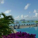 view across the infinity pool & beach