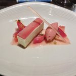 """""""Rhubarb"""" - Baked cheesecake served with poached rhubarb, jelly and rhubarb sorbet"""