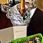 Complimentary champagne and strawberries for our anniversary