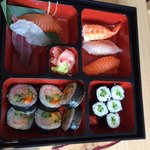 Sushi bento for lunch. Different every time.